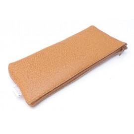 Étui pochette zippée en cuir Tabac