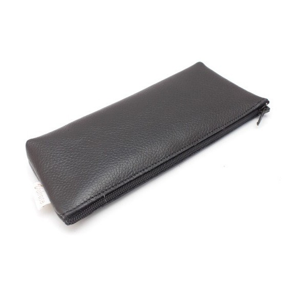 Tobacco Zip leather pouch