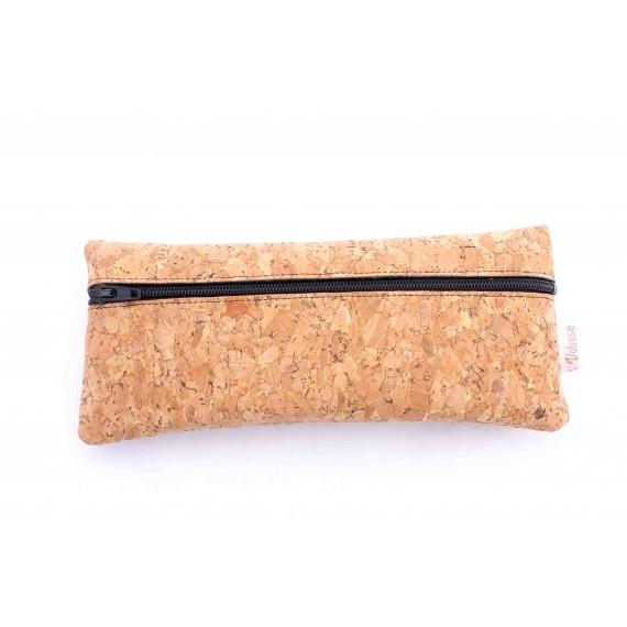 Cork leather zipper case, Black felt inside