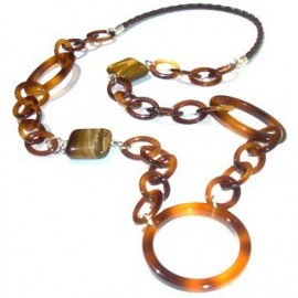 Acetate pendant brown with tiger eye pearl