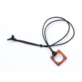Cristal Square Acetate pendant with Green Coton cord