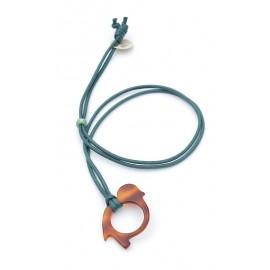 Pendentif acétate Oiseau Écaille avec cordon en coton Thuya