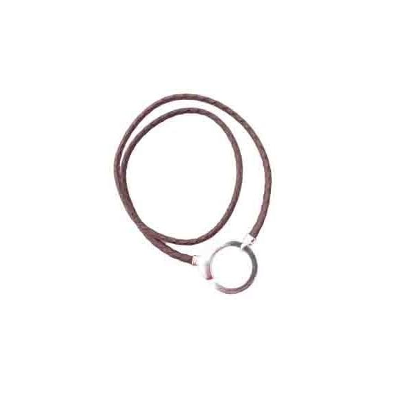 Silvery cuff pendant with Dark Brown cotton cord