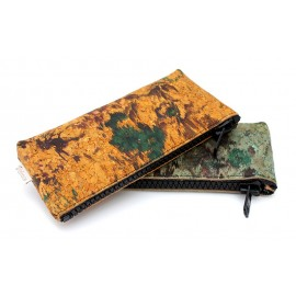 Painted zipper cork leather pouches