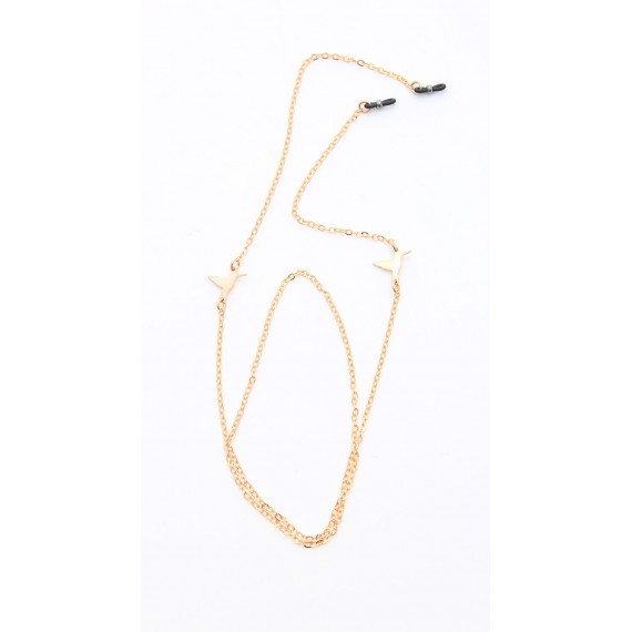 Golden metal chain with small humming-birds