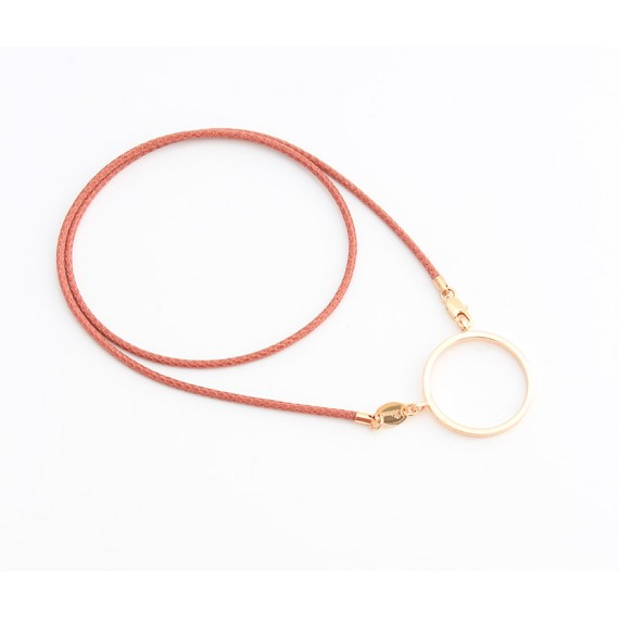 Pink cotton pendant with flat metal ring