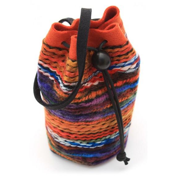 Pochette en laine tissée rouille