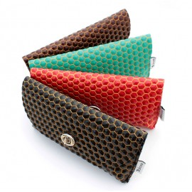 Waffle leather pouch cases