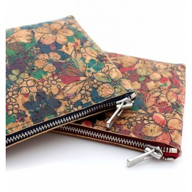 FLOWERS PATERNS CORK LEATHER ZIPPER CASE