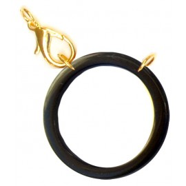 Acetate ring black/ plated gold