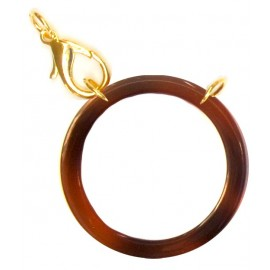Acetate ring brown/ plated gold