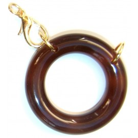 Acetate ring brown/ plated gold L