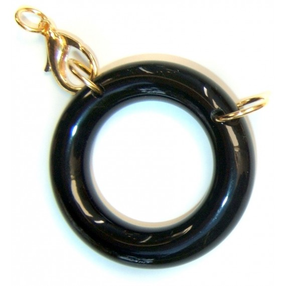 Acetate ring black/ plated gold L