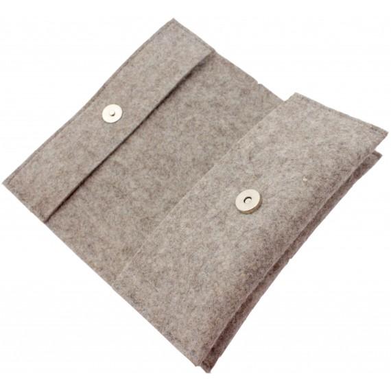 Grey / brown double felt case